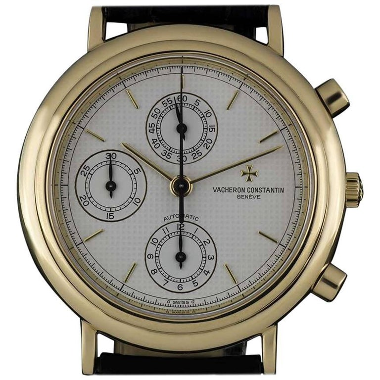 Vacheron & Constantin Gold Silver Pyramid Dial Gents 47001 Automatic Wristwatch