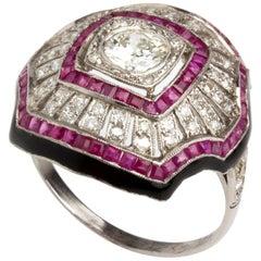 Diamond and Ruby Platinum Ring, Mid-20th Century