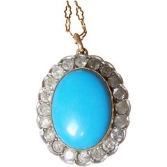 Edwardian 2 Carat Diamond Turquoise Pendant Necklace