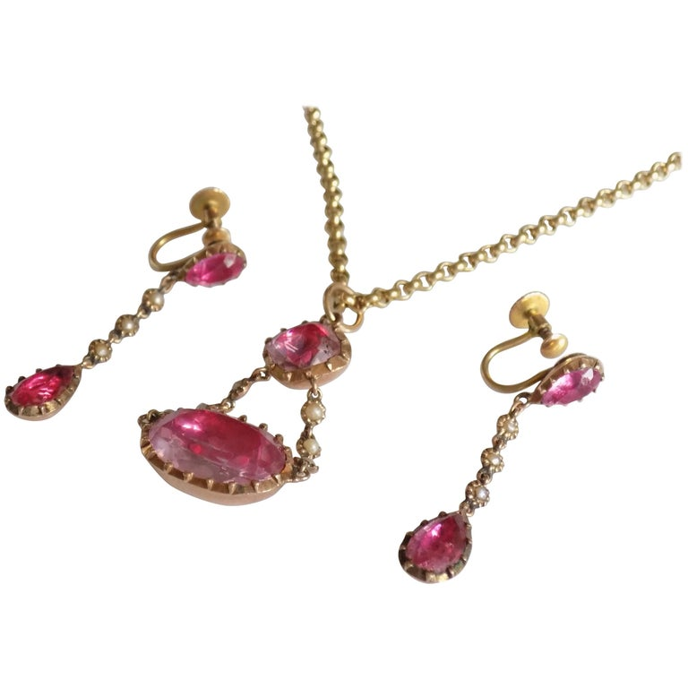 Rare Georgian Pink Topaz Pearl Gold Necklace Earrings Set