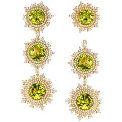 Nadine Aysoy Green Peridot Long Detachable Diamond Earrings