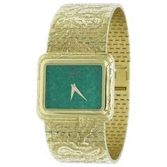 Piaget Ladies Yellow Gold Jadeite Dial Quartz Wristwatch, 1970