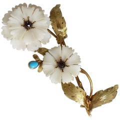 Georgian Conch Shell Garnet Turquoise Gold Carnation Brooch