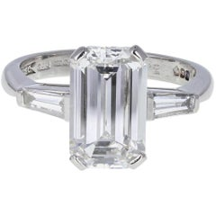 3.31 Carat F VVS2 Emerald Cut Diamond Engagement Solitaire Platinum Ring