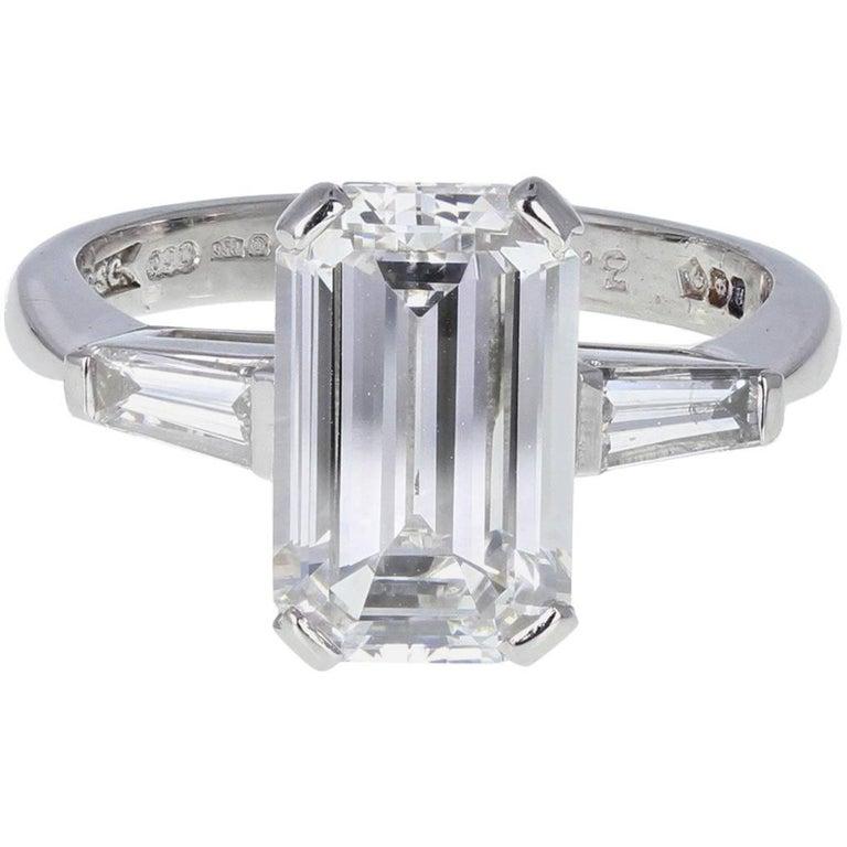 3.31 Carat F VVS2 Emerald Cut Diamond Engagement Solitaire Platinum Ring