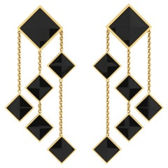 Ferrucci Black Onyx Pyramids Dangling 18 Karat Yellow Gold Chandelier Earrings