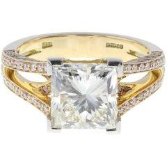 Boodles 4.01 Carat Princess Cut Diamond Solitaire Engagement Ring