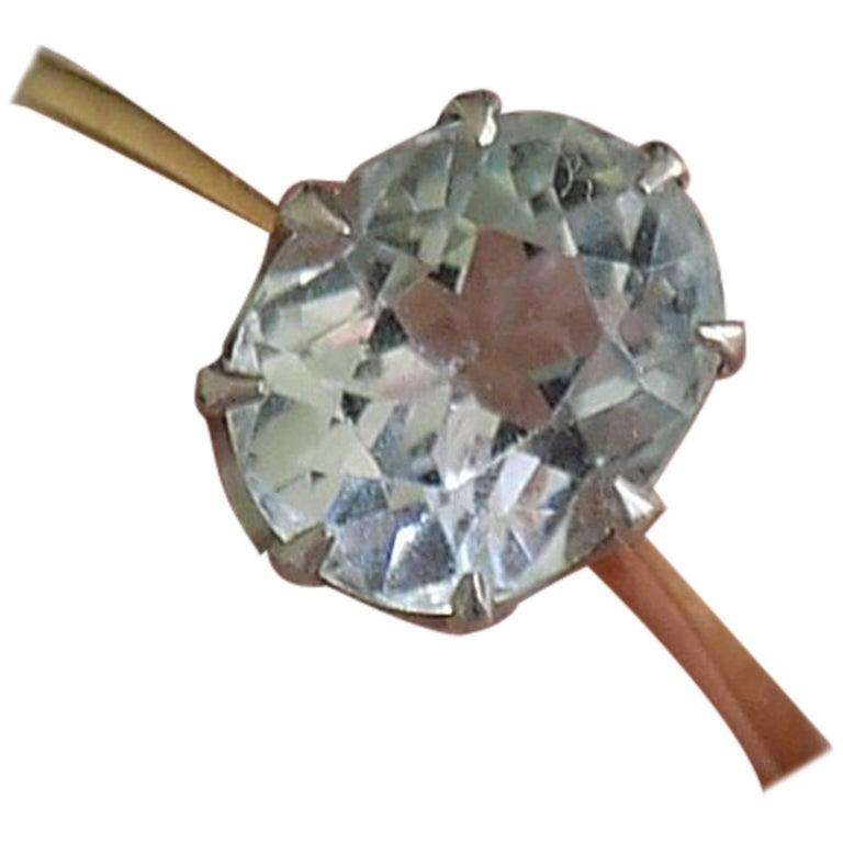 Edwardian Gold Aquamarine Solitaire Ring
