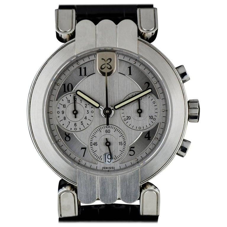 Harry Winston Platinum Silver Dial Premier Chronograph Gent Automatic Wristwatch For Sale