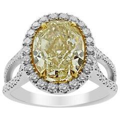 GIA White Gold Yellow 5.03 ct Diamond & 0.65 ct Diamond Ring