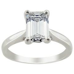 GIA Platinum Emerald Cut 1.27 ct Diamond Engagement Ring
