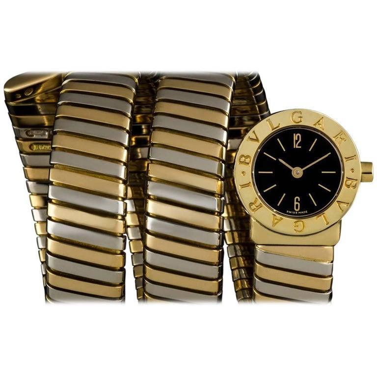 Bulgari Gold and White Gold Black Dial Snake Tubogas BB191T Ladies Quartz Watch