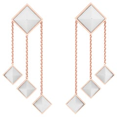 Ferrucci White Agate Pyramids Dangling 18 Karat Rose Gold Chandelier Earrings