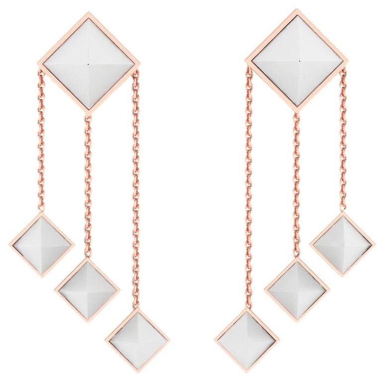 Ferrucci White Agate Pyramids Dangling 18 Karat Rose Gold Chandelier Earrings