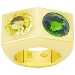 Citrine and Peridot Ring