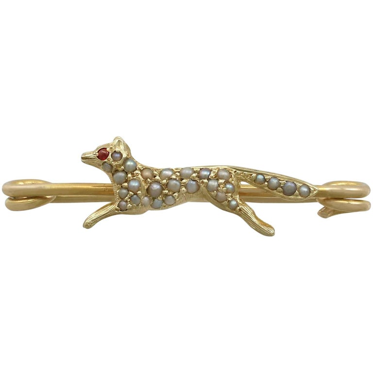 1890s Antique Seed Pearl and Ruby 15k Yellow Gold 'Fox' Brooch