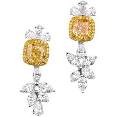 GIA White Gold Fancy Yellow 4.02 ct Diamond & 3.62 ct diamond  Earrings