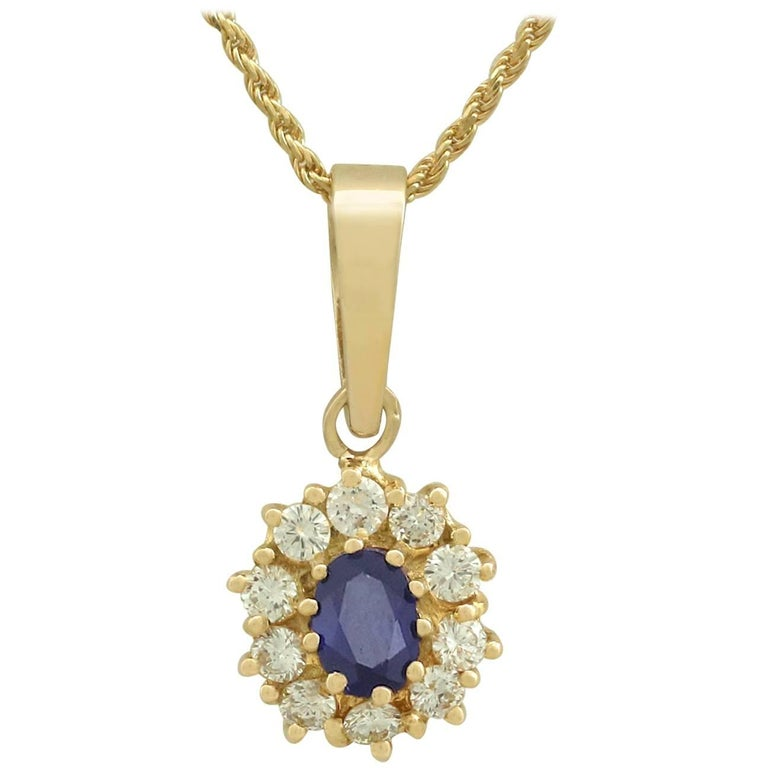 1980s Sapphire and Diamond 18k Yellow Gold Cluster Pendant  For Sale