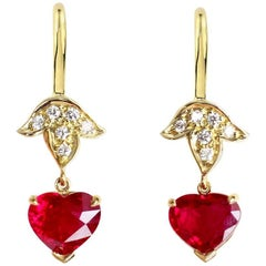 Julius Cohen 3.97 Carat GIA Certified Heart Shape Ruby and Gold Leaf Earrings