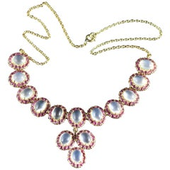 Antique Victorian Moonstone Ruby Gold Silver Necklace
