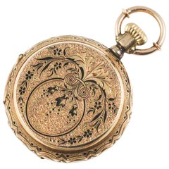 Victorian Yellow Gold Black Enamel Louis Reymond Pocket Watch