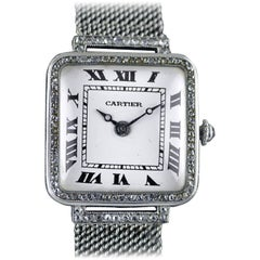 Cartier Platinum Diamond Art Deco Wristwatch, circa 1920