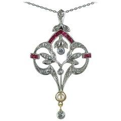 18 Carat Diamond, Ruby, Pearl, Belle Époque Pendant, circa 1910