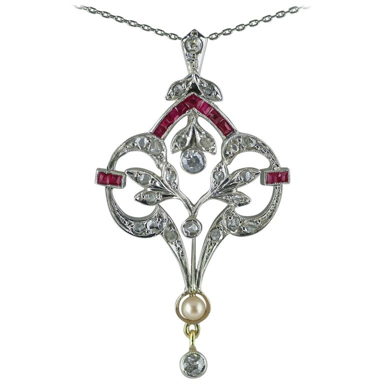 18 Carat Diamond, Ruby, Pearl, Belle Époque Pendant, circa 1910 For Sale