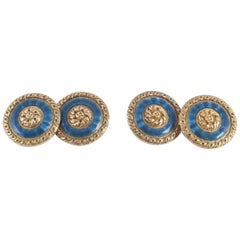 French Carved Gold and Guilloche Enamel Cufflinks, circa 1900