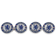 Chelsea Football Club Cufflinks Set Diamonds and Blue Enamel