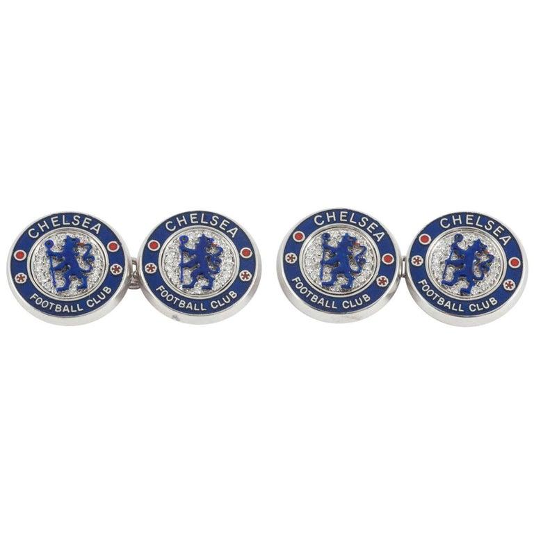 Chelsea Football Club Cufflinks Set Diamonds and Blue Enamel For Sale