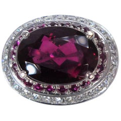 3.60 Carat Rhodolith Diamond Ruby Ring