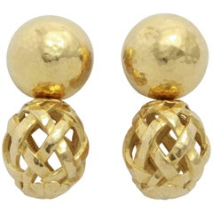 Italian Hammered Top and Lattice Drop Earrings
