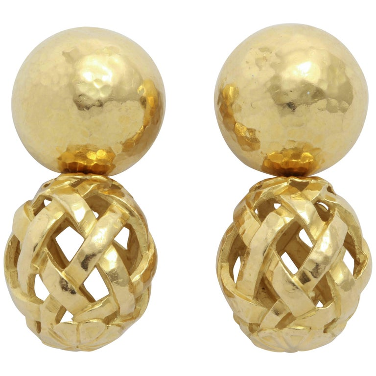 Italian Hammered Top and Lattice Drop Earrings For Sale