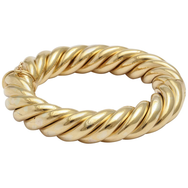 Birks Canada Hinged Heavy Gold Rope Bangle For Sale