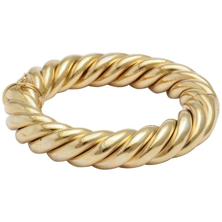 Birks Canada Hinged Heavy Gold Rope Bangle 1