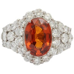 Magnificent Spessartine Garnet and Diamond Ring