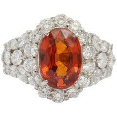 Magnificent Spessartine Garnet and Diamond Ring