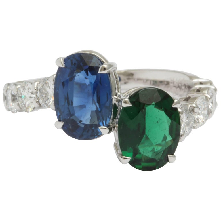Faceted Sapphire and Faceted Green Tourmaline and Diamond Cross Over Ring