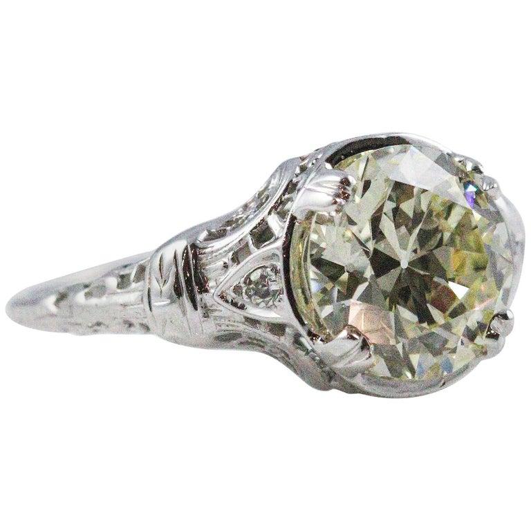 Art Deco 3.05 Carat Old European Cut Diamond Ring