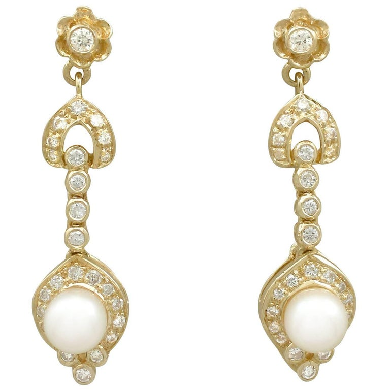 1930s Diamond and Pearl Yellow Gold Drop Earrings