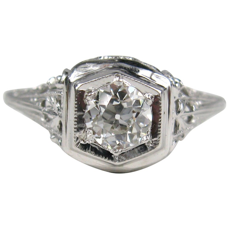 1920s White Gold Art Deco Engagement Diamond Ring