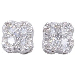 Clover Shaped Diamond Stud Earrings