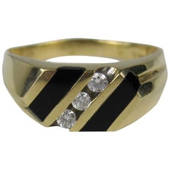 Midcentury Men's Onyx Diamond Gold Ring
