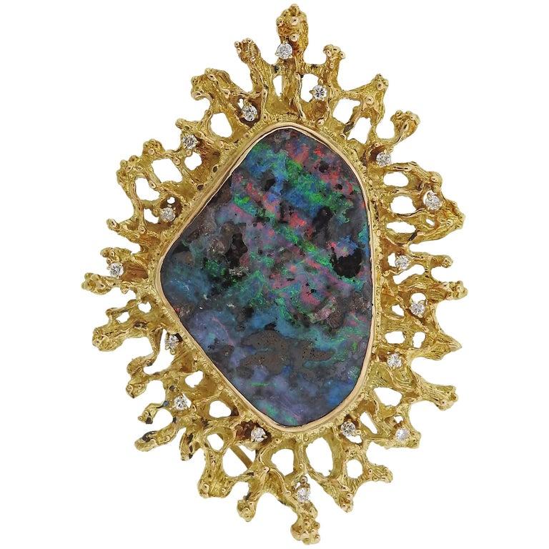 1970s Opal Diamond Gold Brooch Pendant