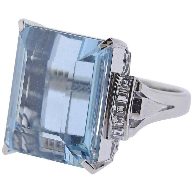 Midcentury 20 Carat Aquamarine Diamond Platinum Ring