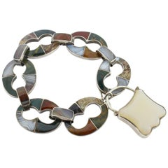 Antique Victorian Scottish Agate and Silver Bracelet with Padlock