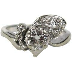 Antique 1930s Handcrafted Diamond Platinum Ring