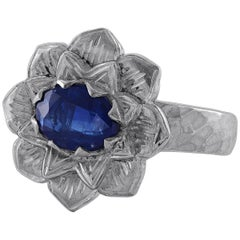 Emma Chapman Kyanite Lotus Flower Silver Ring