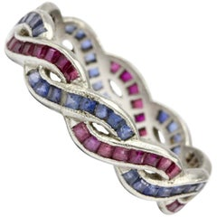 Art Deco Platinum Ruby and Sapphire Woven Eternity Band